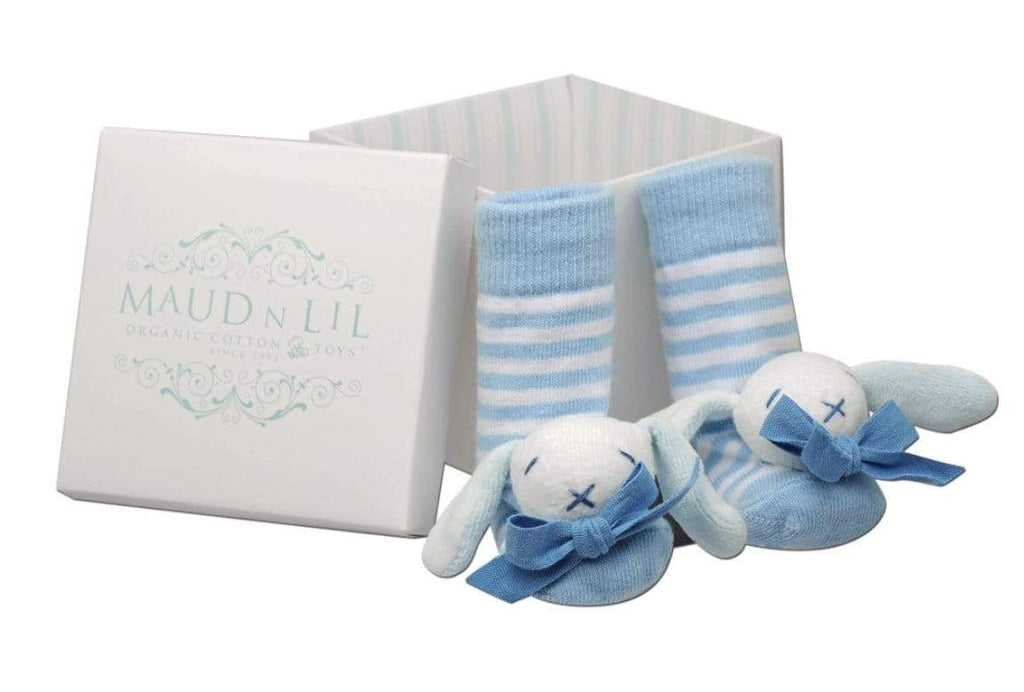 Maud n Lil Birth to 12 Months Baby Rattle Socks - Blue