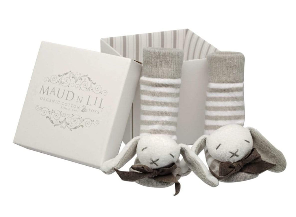 Maud n Lil Birth to 12 Months Baby Rattle Socks - Grey
