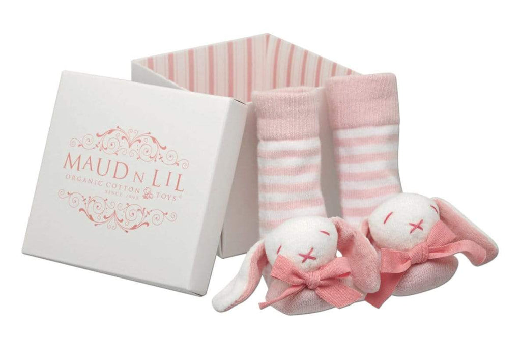 Maud n Lil Birth to 12 Months Baby Rattle Socks - Rose