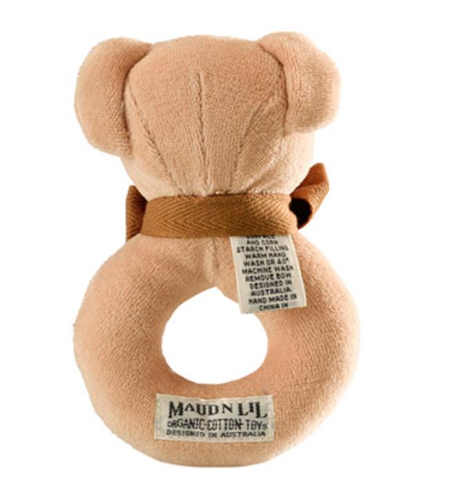 Maud n Lil Birth to 12 Months Donut Rattle - Bear Honey