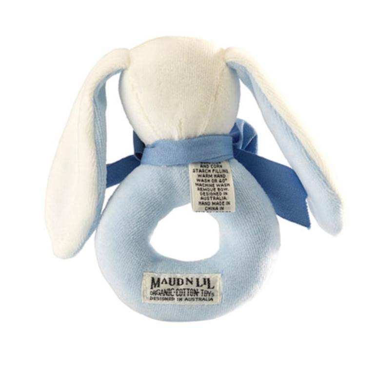 Maud n Lil Birth to 12 Months Donut Rattle - Bunny Blue