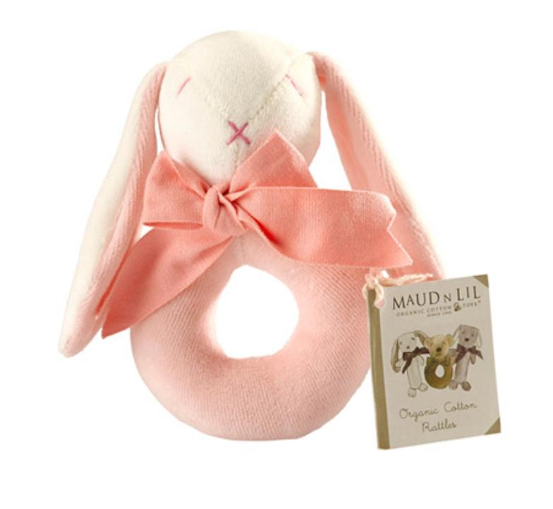 Maud n Lil Birth to 12 Months Donut Rattle - Bunny Pink