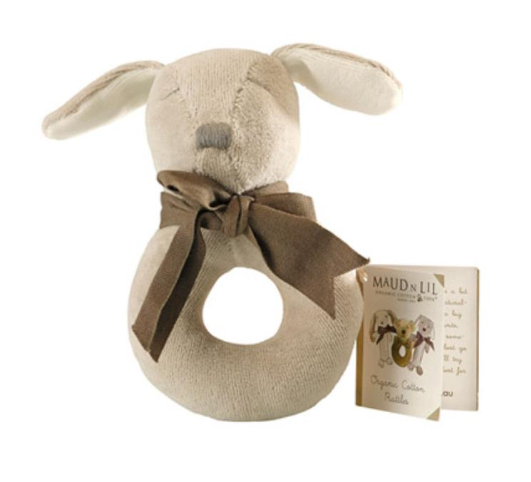 Maud n Lil Birth to 12 Months Donut Rattle - Dog Grey