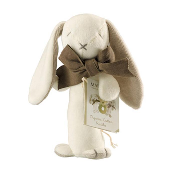 Maud n Lil Birth to 12 Months Stick Rattle - Bunny White
