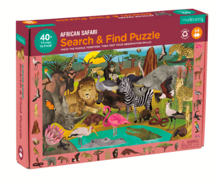 Mudpuppy 4 Plus 64 Pc Search & Find Puzzle - African Safari