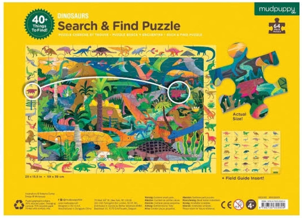 Mudpuppy 4 Plus 64 Pc Search & Find Puzzle - Dinosaurs