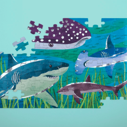 Mudpuppy 5 Plus 100 Pc Foil Puzzle - Sharks