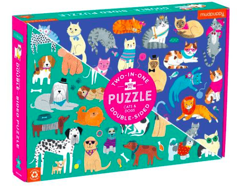 Mudpuppy 6 Plus 100 Pc Double-Sided Puzzle Cats & Dogs