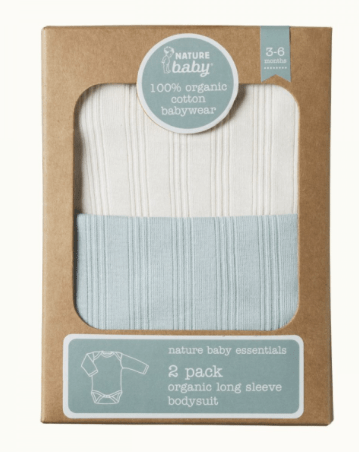 Nature Baby 2 Pack Long Sleeved Bodysuit Natural/Sea