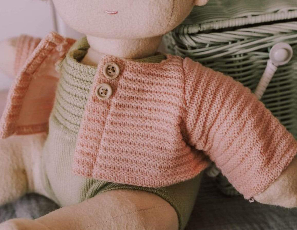 Olli Ella 18 Mths Plus Dinkum Doll Cardigan - Rose