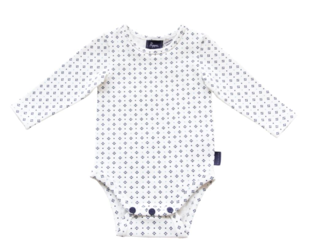 Pappe 000 to 1 Navy/Mint Diamond / 000 Nimmy Luxe Organic Onesie - LS