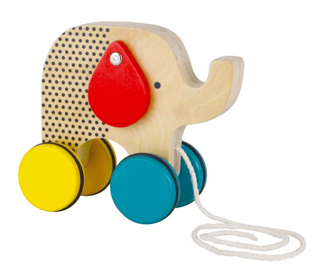 Petit Collage 12 Mths Plus Wooden Pull Toy - Elephant