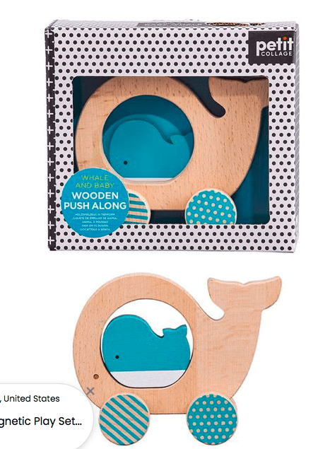 Petit Collage 12 Mths Plus Wooden Push Along - Whale and Baby