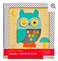 Petit Collage 18 Mths Plus Wood Puzzle Little Owl