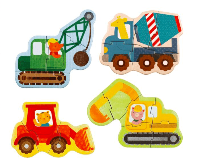 Petit Collage 4 Beginner Puzzles Crane Concrete Mixer Bulldozer Digger