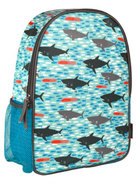 Petit Collage Shark Back Pack Tal Blue with  Charcoal and Mid Grey Sharks