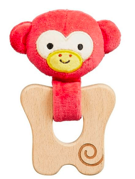 Petit Collage Birth Plus Organic Teether - Cheeky Monkey