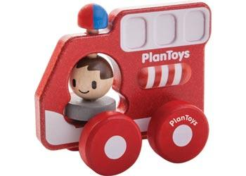 Plan Toys 12 Mths Plus Push Toy - Fire Truck