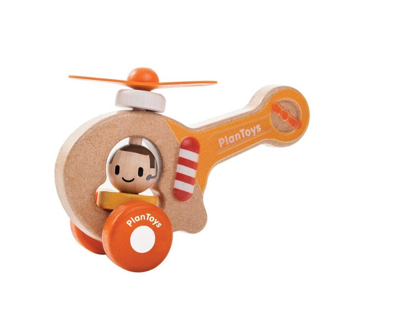 Plan Toys 12 Mths Plus Push Toy - Helicopter