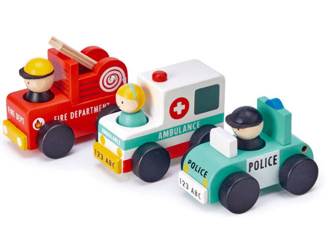 Tender Leaf Toys 3 Plus Emergency Vehicle Cars