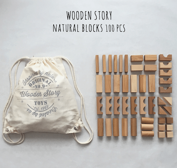 Wooden Story 2 Plus Natural Blocks in Cotton Sack - 100 Pieces