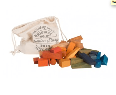 Wooden Story 2 Plus Rainbow Blocks in Cotton Sack - 100 Pieces