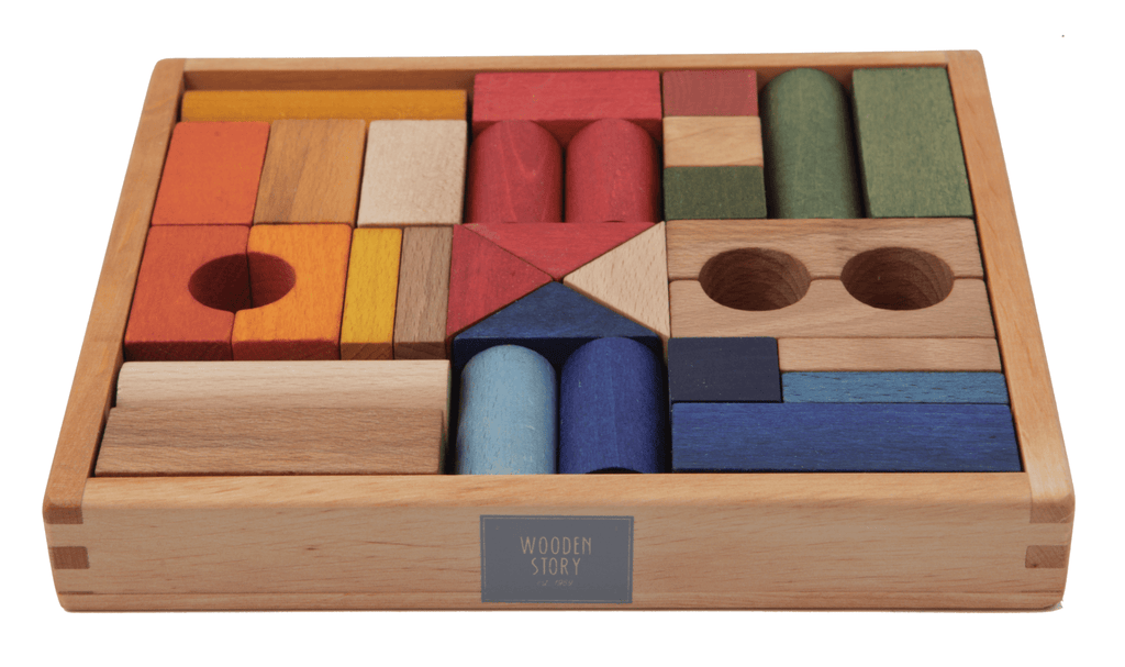 Wooden Story 2 Plus Rainbow Blocks in Wooden Box - 30 Pieces