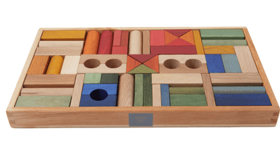Wooden Story 2 Plus Rainbow Blocks in Wooden Box - 54 Pieces