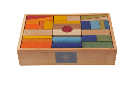 Wooden Story 2 Plus Rainbow Blocks in Wooden Box - 63 Pieces