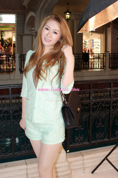 KOREAN BLAZER SHORTS SHIMMER SET WITH PEARLS