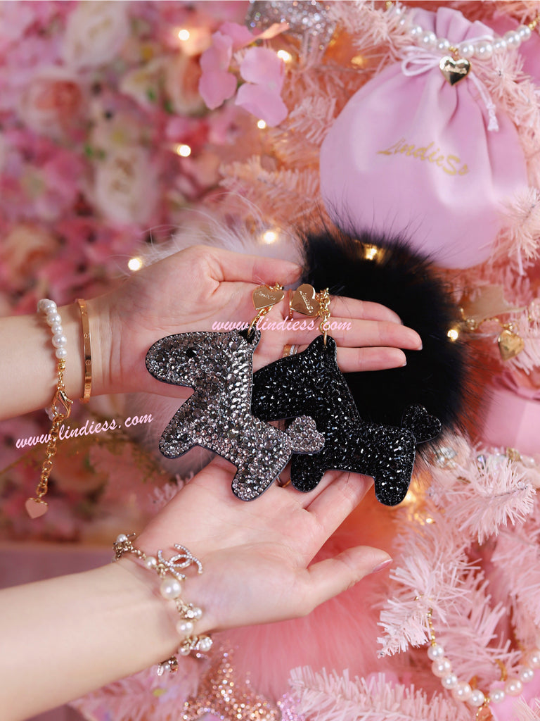 PRINCESS SWAROVSKI HORSE POM POM - DARK SILVER & SO BLACK