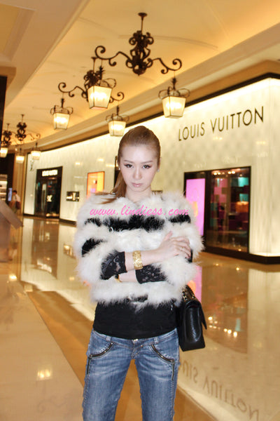 COCO RABBIT FUR JACKET - BLACK & WHITE