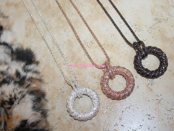 DISCO LOOP GLITTER NECKLACE - ROSE GOLD