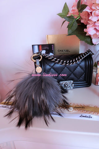 FLUFFY FOX MONSTER POM POM WITH LEATHER STRAP