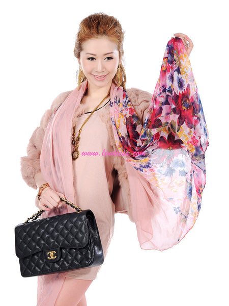 FLOWERS SCARF - ROSE PINK