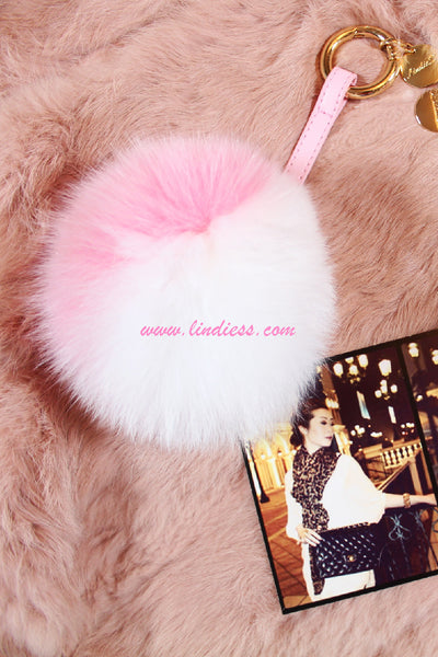 TWO TONED POM POM WITH LEATHER STRAP