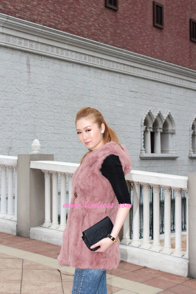 RABBIT FUR VEST - DEEP ROSE