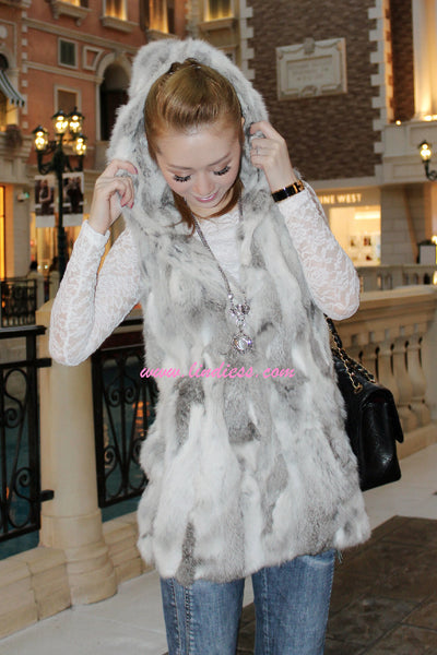 RABBIT FUR VEST - GREY MIX