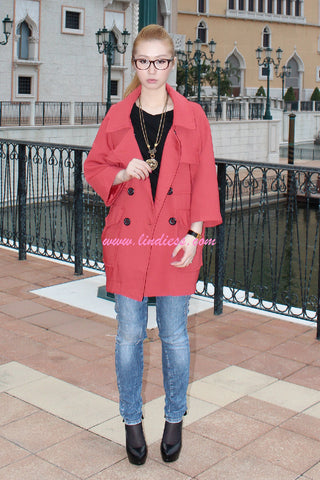 KOREAN OVERSIZE TRENCH COAT - BERRY RED
