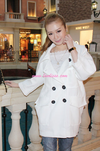 KOREAN OVERSIZE TRENCH COAT - WHITE