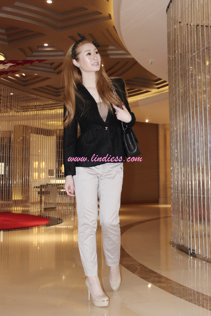KOREAN PEPLUM BLAZER JACKET - BLACK