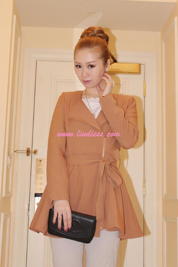 KOREAN PRINCESS TRENCH COAT - KHAKI