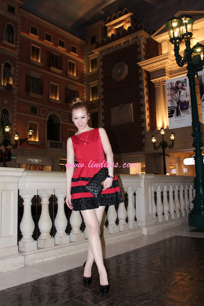 KOREAN PRINCESS BLING DRESS - RED & BLACK