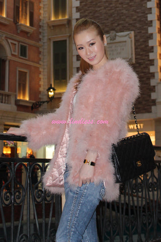 TURKEY FEATHER FUR JACKET - ROSE