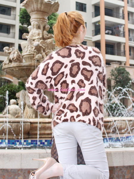 BIG MOHAIR KNITTED PINK LEOPARD BLOUSE