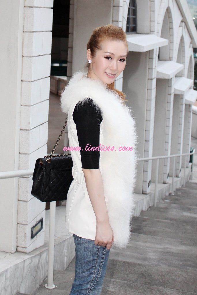 TURKEY FEATHER FUR LEATHER VEST - WHITE