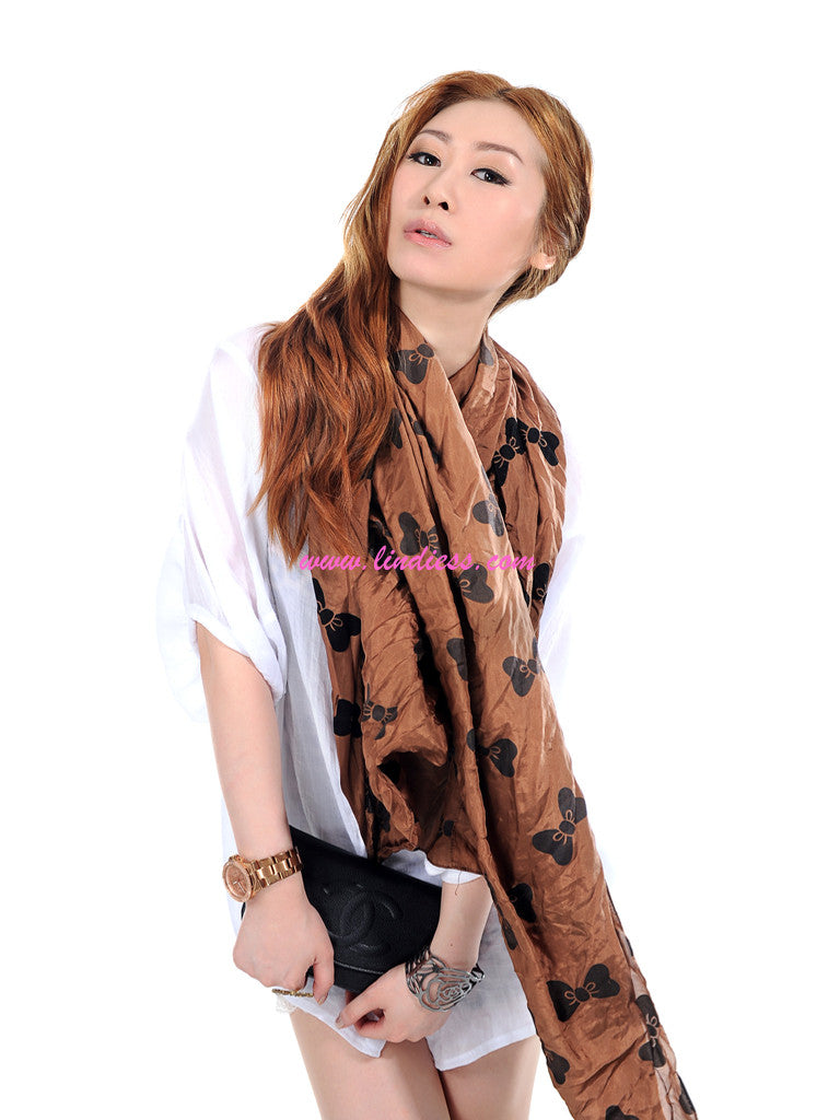 SILK BOWS SCARF - BROWN