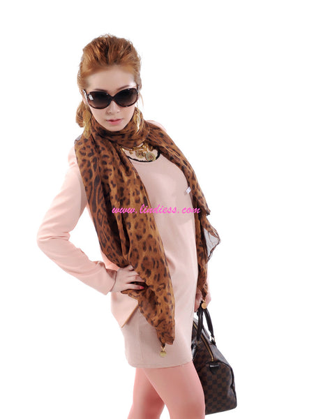 DOUBLE LAYER LEOPARD SILK SCARF - BROWN