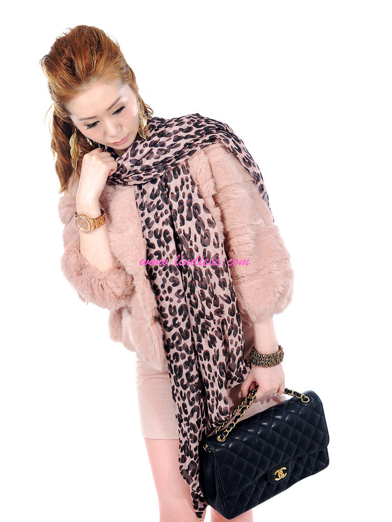 DOUBLE LAYER LEOPARD SILK SCARF - PINK