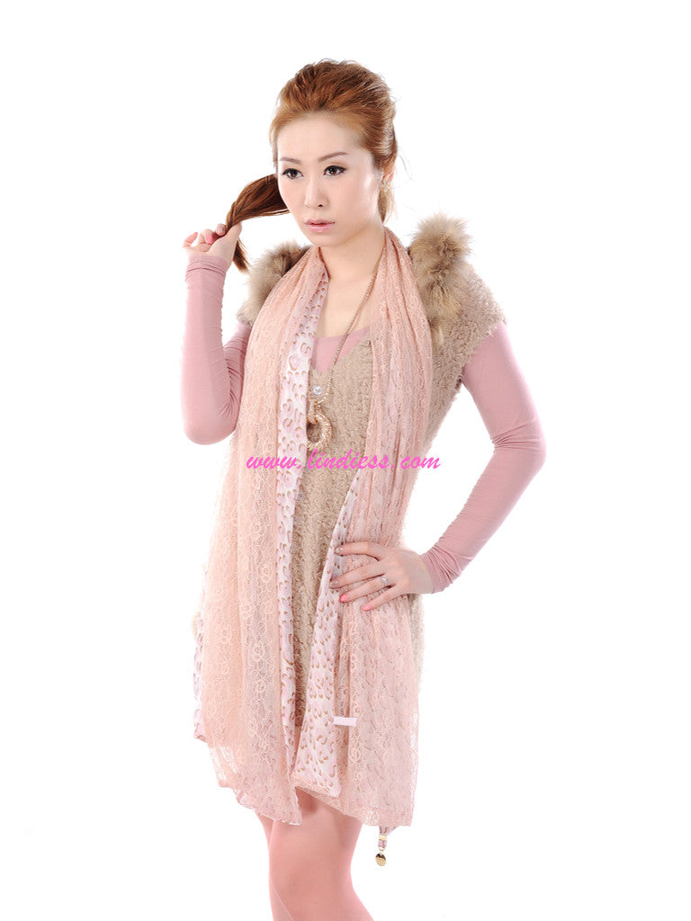 SILK & LACE LEOPARD - BABY PINK